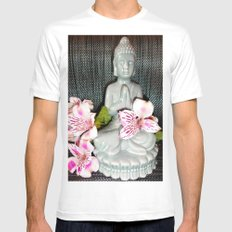 Buddha 1 White Mens Fitted Tee SMALL