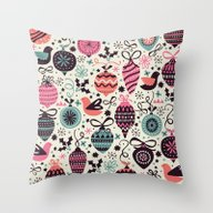 Throw Pillow featuring Birds And Baubles  by Poppy & Red