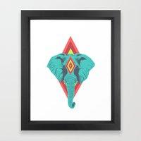 Neon Elephant Framed Art Print