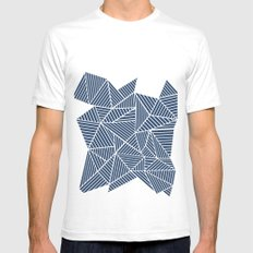 Abstract Mountain Navy SMALL Mens Fitted Tee White