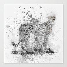 Cheetah in Black and White Canvas Print