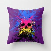 Skull Splatter Throw Pillow