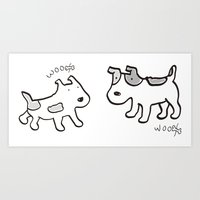 woofwoof dog meeting Art Print