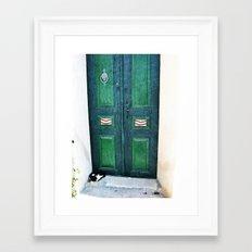Old Green Door Framed Art Print