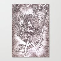 Girl And Her Cat Canvas Print