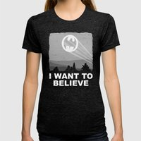 I Want To Believe In A H… Womens Fitted Tee Tri-Black SMALL