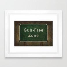 Gun-Free Zone road sign illustration Framed Art Print