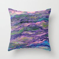MARBLE IDEA! LAVENDER PINK PEACH Abstract Watercolor Painting Colorful Geological Nature Marbled Art Throw Pillow