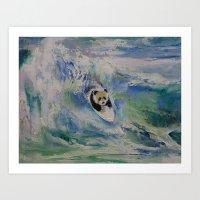 Panda Surfer Art Print