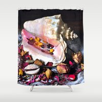 Maritime Symphony  with Sea Shells and Roses Shower Curtain