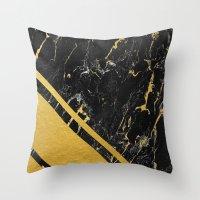 Gold Corner Black Marble Throw Pillow