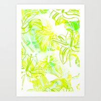 Green Flowers Art Print