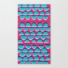 Pink & Blue Semi-circle pattern lino and digital print Canvas Print