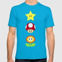 Super Mario Bros Star, Mushroom and Flower Mens Fitted Tee Teal SMALL