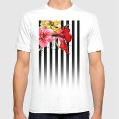 FLORA BOTANICA | stripes Mens Fitted Tee White SMALL