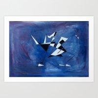 blue pattern art  Art Print