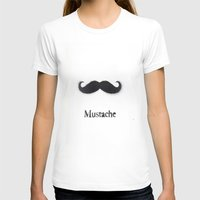 Mustache Womens Fitted Tee White SMALL