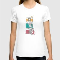 Stacked Cameras Womens Fitted Tee White SMALL