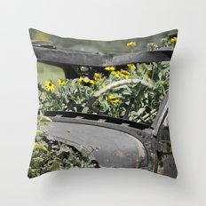 Rustic Yellow flowers Throw Pillow