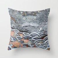 Golden Fishes Throw Pillow