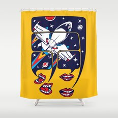 Let's talk about spaceships Shower Curtain