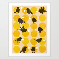 Birdsong Yellow Art Print