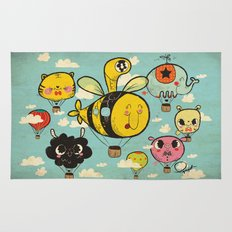 Happy Flight / The Animals Hot Air Balloon Voyagers / Patterns / Clouds Rug