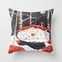 Surreal, night, midnight, black, dark, fantasy art, forest, moon, goose, magic mushrooms, hippie, go Throw Pillow