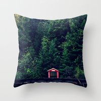 Red in Woods Throw Pillow