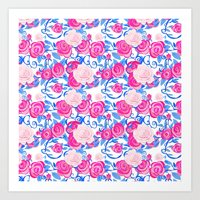 Pink Shabby Chic roses and royal blue vines on white Art Print