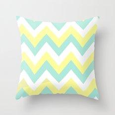 MINT & YELLOW CHEVRON Throw Pillow