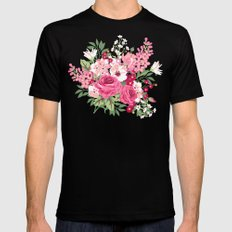 Cottage Chic Pink and Red Roses on Turquoise Linen Mens Fitted Tee SMALL Black