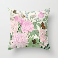Pink Flowers And Butterf… Throw Pillow