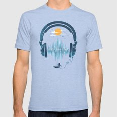 Summer Waves Mens Fitted Tee Tri-Blue SMALL
