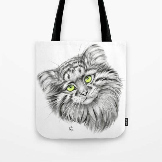 Pallas's Cat green G2012-51 Tote Bag