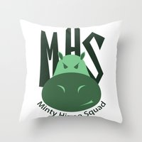 Minty Hippo Squad Throw Pillow