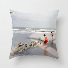 THE BEACH-Suburban Monster Series Throw Pillow
