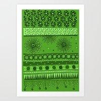 Yzor Pattern 007 Green Art Print