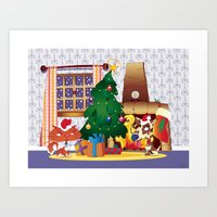 Merry Christmas Cat And … Art Print