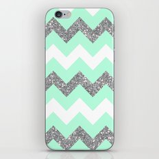 seafoam glitter chevron iPhone & iPod Skin