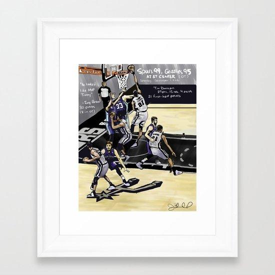 San Antonio Spurs 99, Memphis Grizzlies 95 Framed Art Print