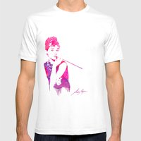Audrey Stencil Mens Fitted Tee White SMALL