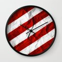 Crumbled Red Stripes Wall Clock