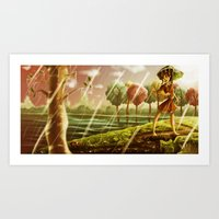 Girl With The Umbrella Art Print