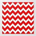 Chevron Red White Canvas Print