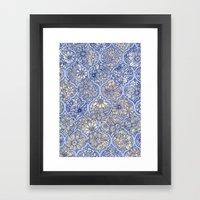 Moroccan Floral Lattice Arrangement - Purple Framed Art Print