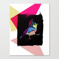 Canvas Print featuring Neon Bird by Stroke a Bird