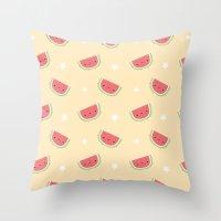 Kawaii watermelon Throw Pillow