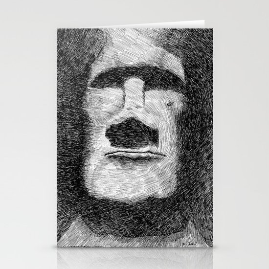 Easter island - Moai statue - Ink Stationery Card