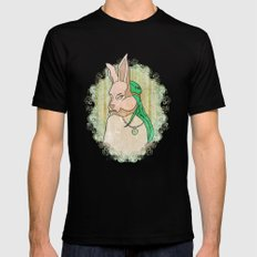Follow the White Rabbit Black SMALL Mens Fitted Tee